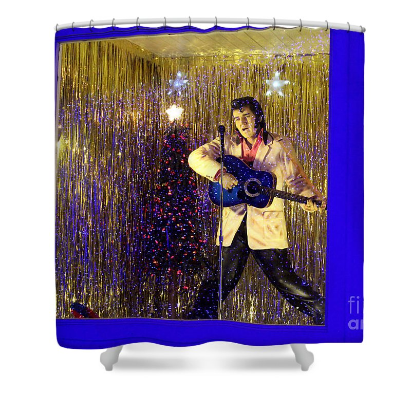 Elvis Presley Memorabilia Shower Curtain featuring the photograph Blue Christmas Without Elvis by Kathy White