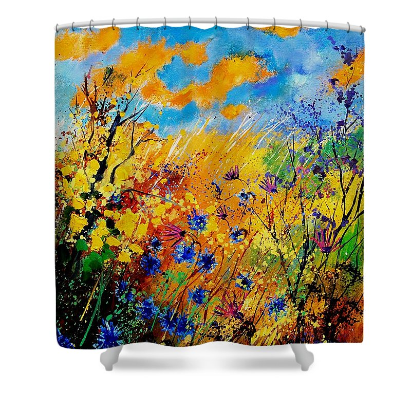 Poppies Shower Curtain featuring the painting Blue Cornflowers 450408 by Pol Ledent