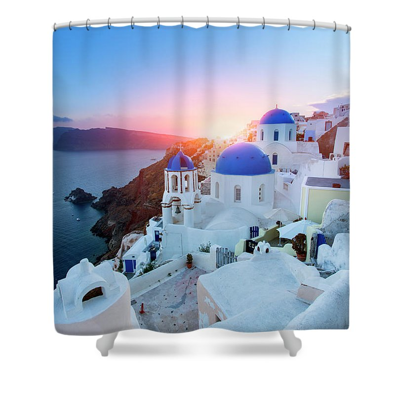 Greek Culture Shower Curtain featuring the photograph Blue Domed Churches At Sunset, Oia by Sylvain Sonnet
