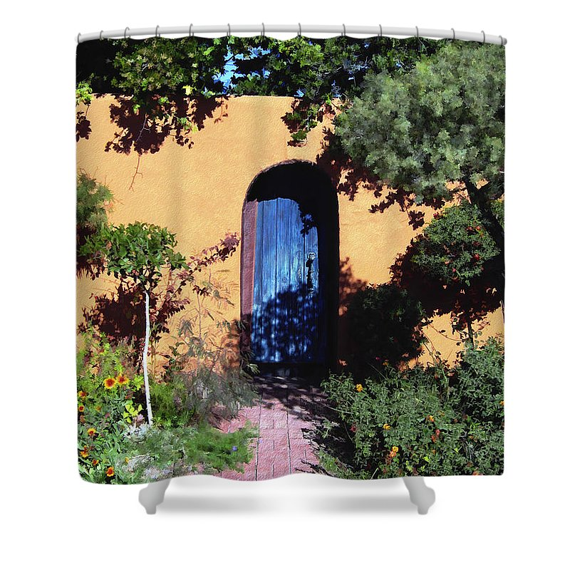 Blue Door Shower Curtain featuring the photograph Blue Door At Old Mesilla by Kurt Van Wagner