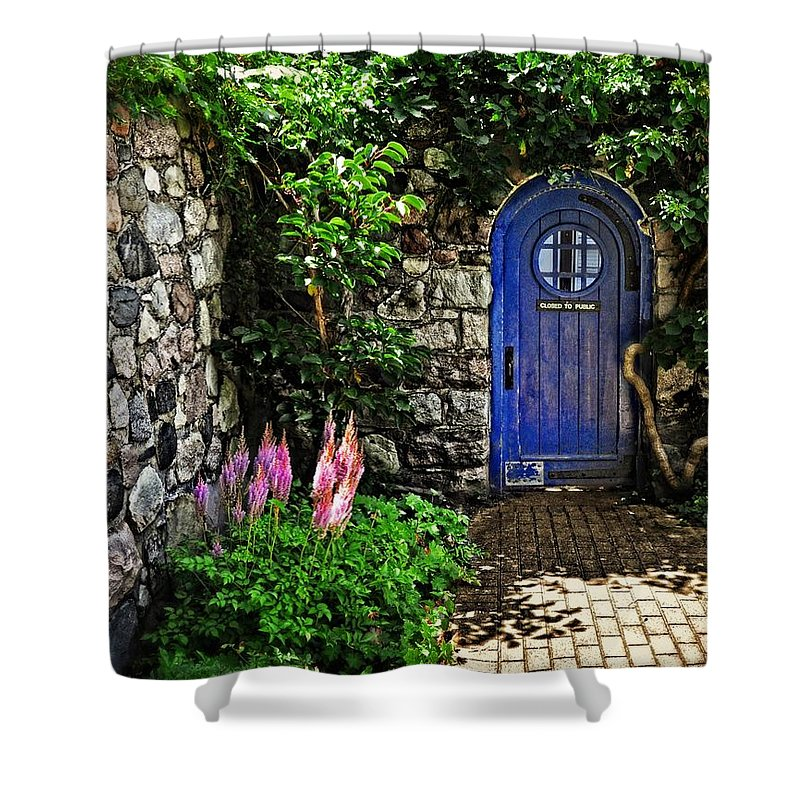 Cranbrook Shower Curtain featuring the photograph Blue Door by Chris Fleming