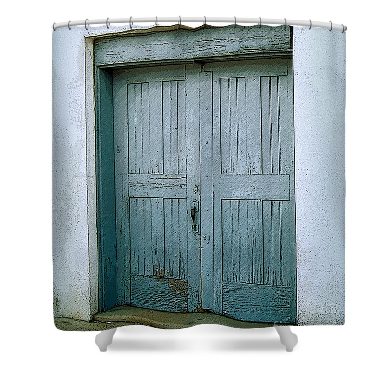 Paris Tennessee Shower Curtain featuring the photograph Blue Doors On Brewer Street by Lee Owenby