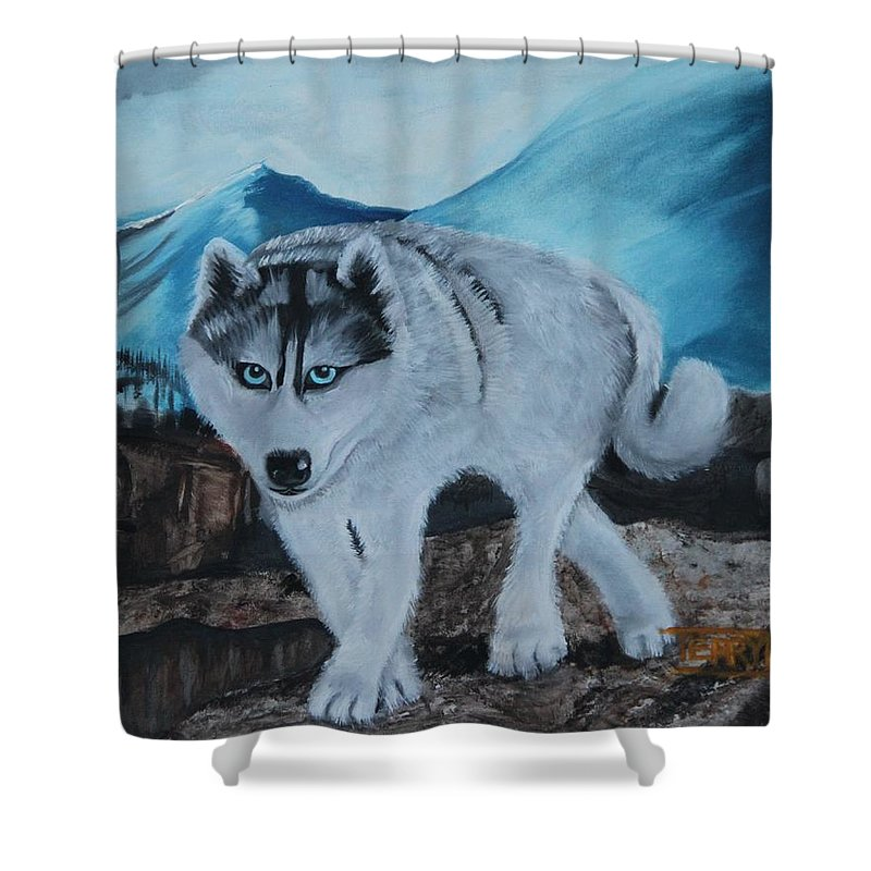 Husky Shower Curtain featuring the painting Blue Eyed Husky by Terry Lewey