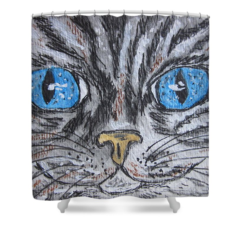 Blue Eyes Shower Curtain featuring the painting Blue Eyed Stripped Cat by Kathy Marrs Chandler