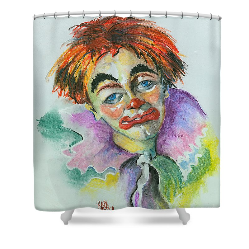 Canvas Print Shower Curtain featuring the painting Blue Eyes by Elisabeta Hermann