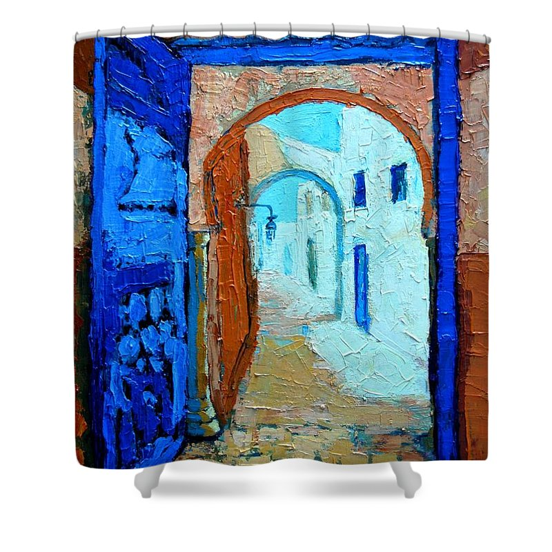 Landscape Shower Curtain featuring the painting Blue Gate by Ana Maria Edulescu
