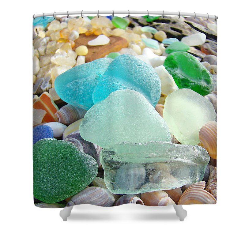 Seaglass Shower Curtain Featuring The Photograph Blue Green Sea Glass Beach Coastal By Baslee Troutman
