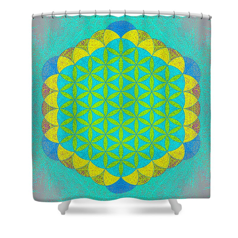 Blue Shower Curtain featuring the photograph Blue Green Yellow Flower Of Life by Susan Bloom