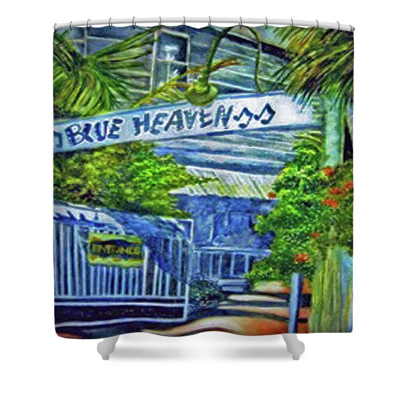 Key West Shower Curtain featuring the painting Blue Heaven Key West by Kandy Cross