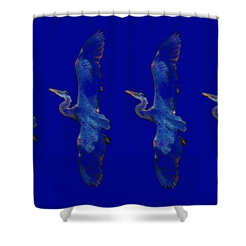 Blue Heron Shower Curtain featuring the digital art Blue Heron Ballet by George Pedro