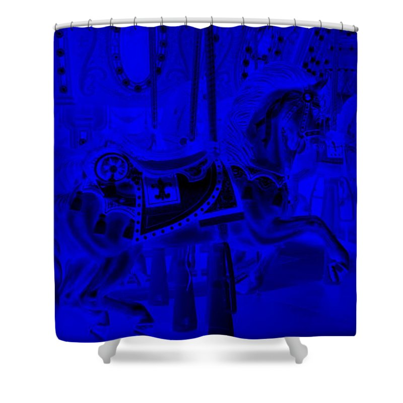 Carousel Shower Curtain featuring the photograph Blue Horse by Rob Hans