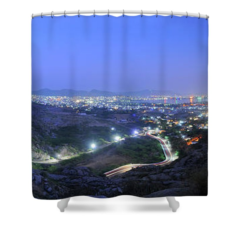 Scenics Shower Curtain featuring the photograph Blue Hour Ajmer City Panorama by Nimit Nigam