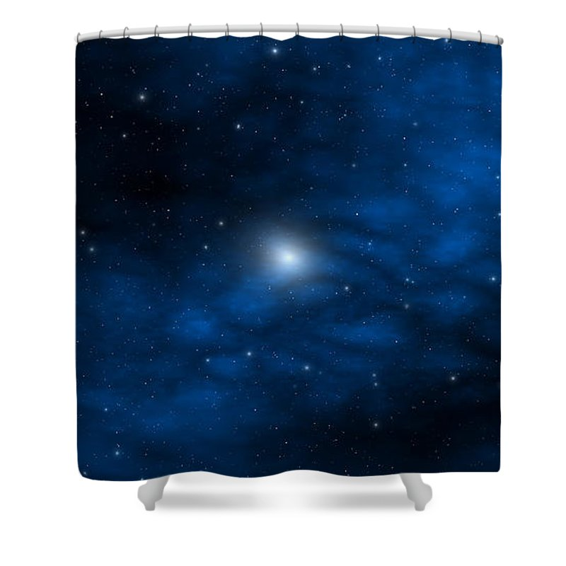 Space Shower Curtain featuring the digital art Blue Interstellar Gas by Robert aka Bobby Ray Howle