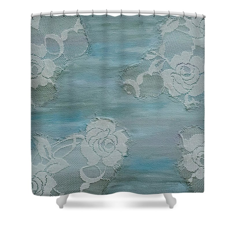 Blue Shower Curtain featuring the painting Blue Lace by Alexandra Brown