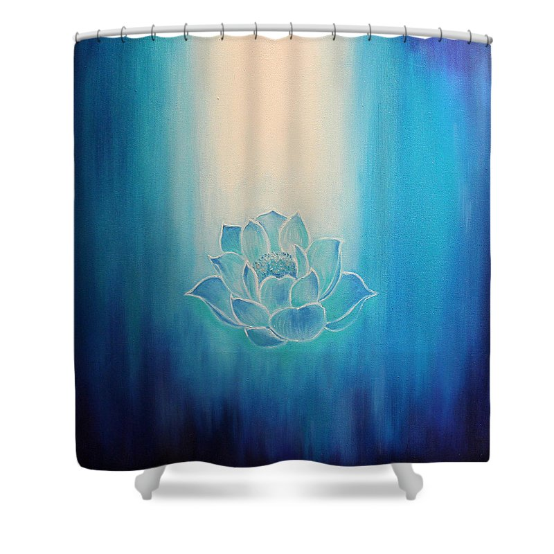 Lotus Shower Curtain Featuring The Painting Blue By Alexandra Florschutz