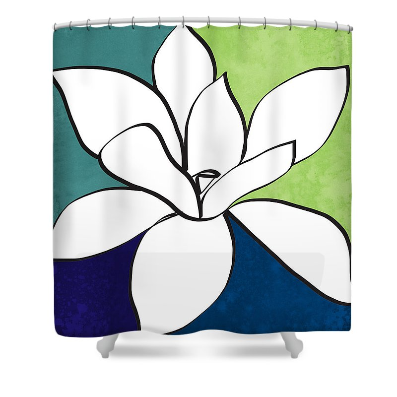 Magnolia Shower Curtain featuring the painting Blue Magnolia 1- Floral Art by Linda Woods