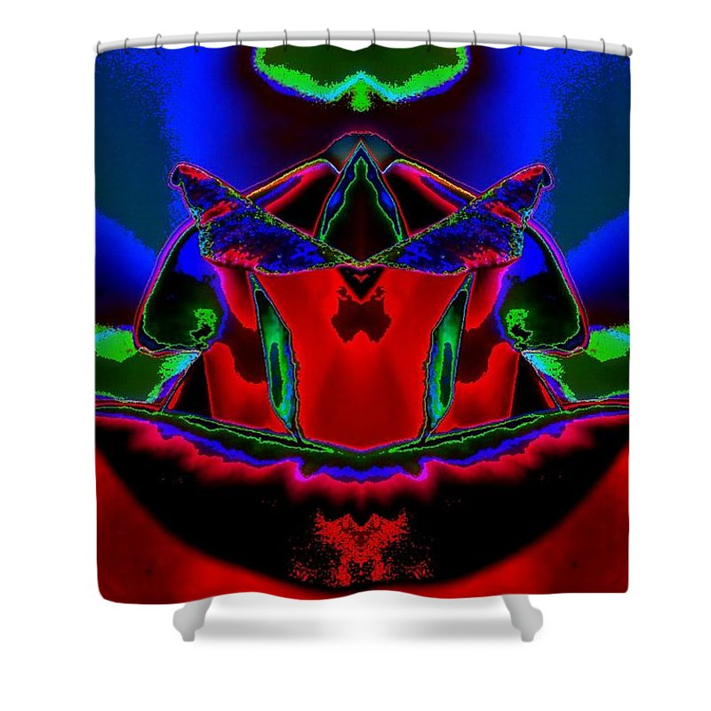 Blue Mantle Shower Curtain featuring the digital art Blue Mantle by Lorles Lifestyles