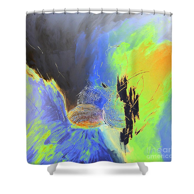 Painting Shower Curtain featuring the painting Blue Mars by Christiane Schulze Art And Photography