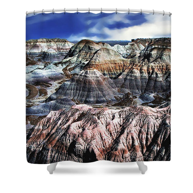 Amphibians Shower Curtain Featuring The Photograph Blue Mesa   Painted  Desert By Bob And Nadine Johnston