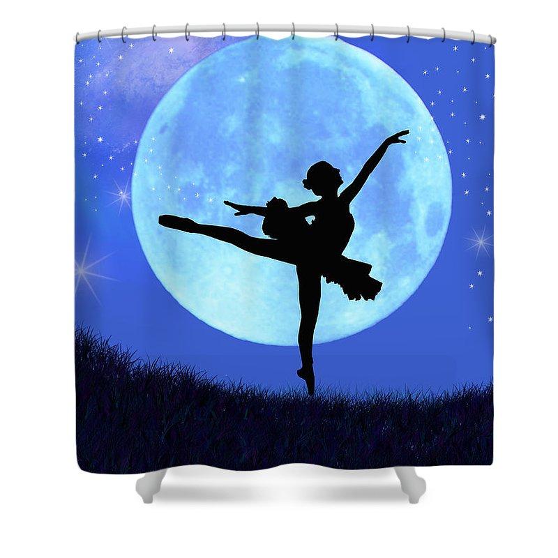 Ballet Shower Curtain featuring the digital art Blue Moon Ballerina by Alixandra Mullins