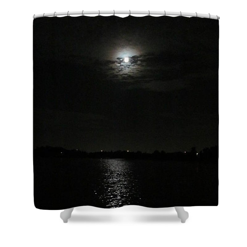 Shower Curtain featuring the photograph Blue Moon Over Orlando by Zoe Vega Questell