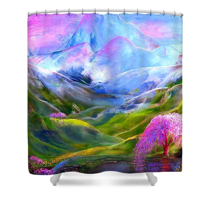Mountain Shower Curtain featuring the painting Blue Mountain Pool by Jane Small