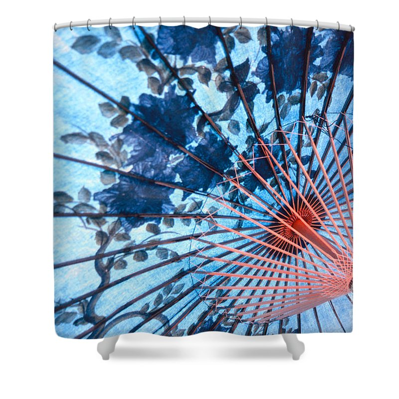Umbrella Shower Curtain featuring the photograph Blue Ornamental Thai Umbrella by Heiko Koehrer-Wagner