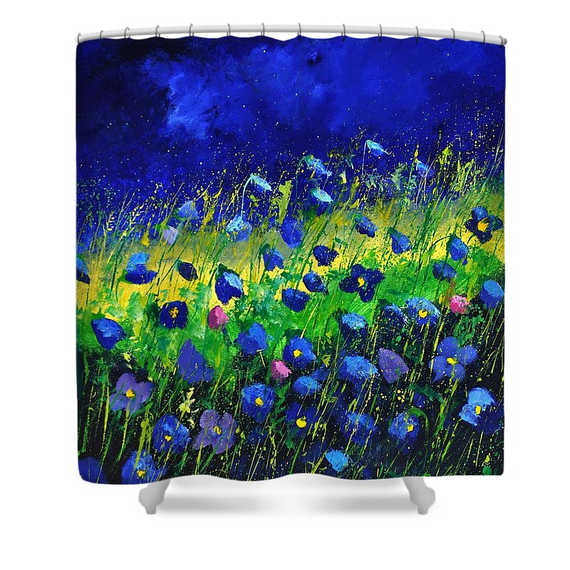 Landscape Shower Curtain featuring the painting Blue poppies 674190 by Pol Ledent