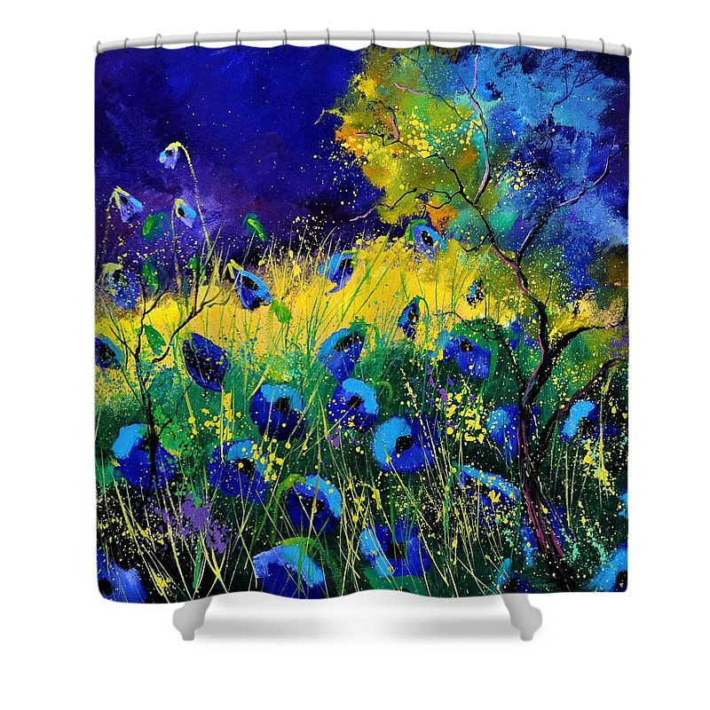 Landscape Shower Curtain featuring the painting Blue poppies 7741 by Pol Ledent