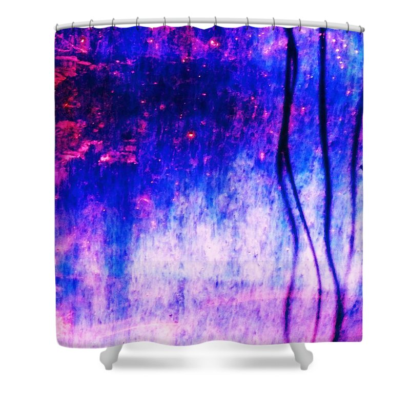 Blue Shower Curtain featuring the photograph Blue Purple White Metal by Eric Schiabor