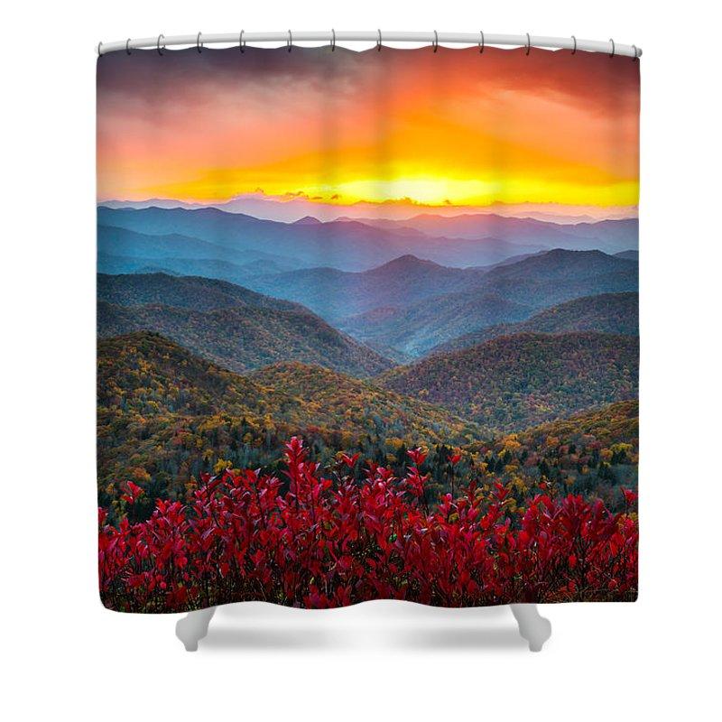 Blue Ridge Parkway Shower Curtain featuring the photograph Blue Ridge Parkway Autumn Sunset Nc - Rapture by Dave Allen