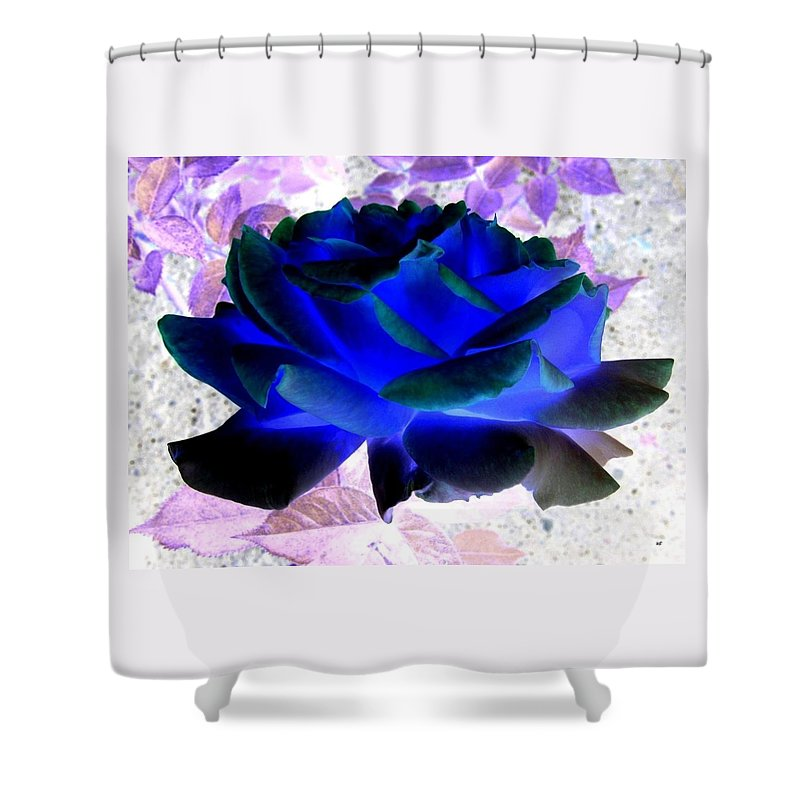 Blue Rose Shower Curtain featuring the digital art Blue Rose by Will Borden