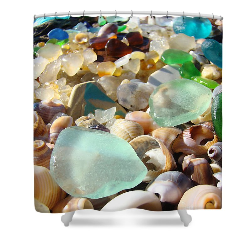 Seaglass Shower Curtain Featuring The Photograph Blue Beach Art Prints Shells Agates By Baslee Troutman