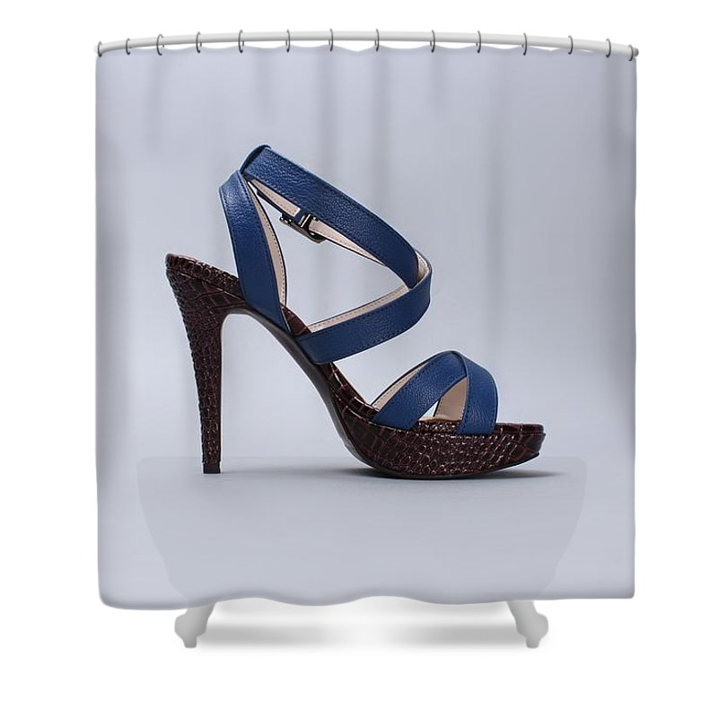Sandal Shower Curtain featuring the photograph Blue Shoe by FL collection