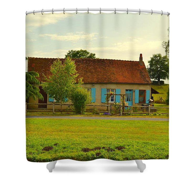 Shutters Shower Curtain featuring the photograph Blue Shuttered Cottage by Jackie and Noel Parry