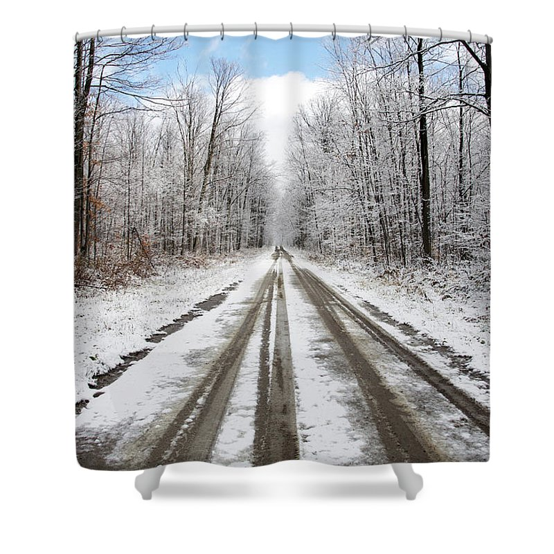 Blue Shower Curtain featuring the photograph Blue Sky by Elaine Mikkelstrup
