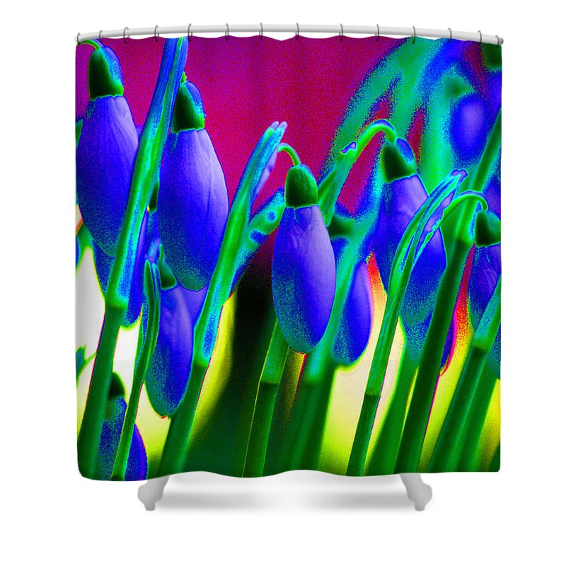Blue Shower Curtain featuring the digital art Blue Snowdrops by Carol Lynch