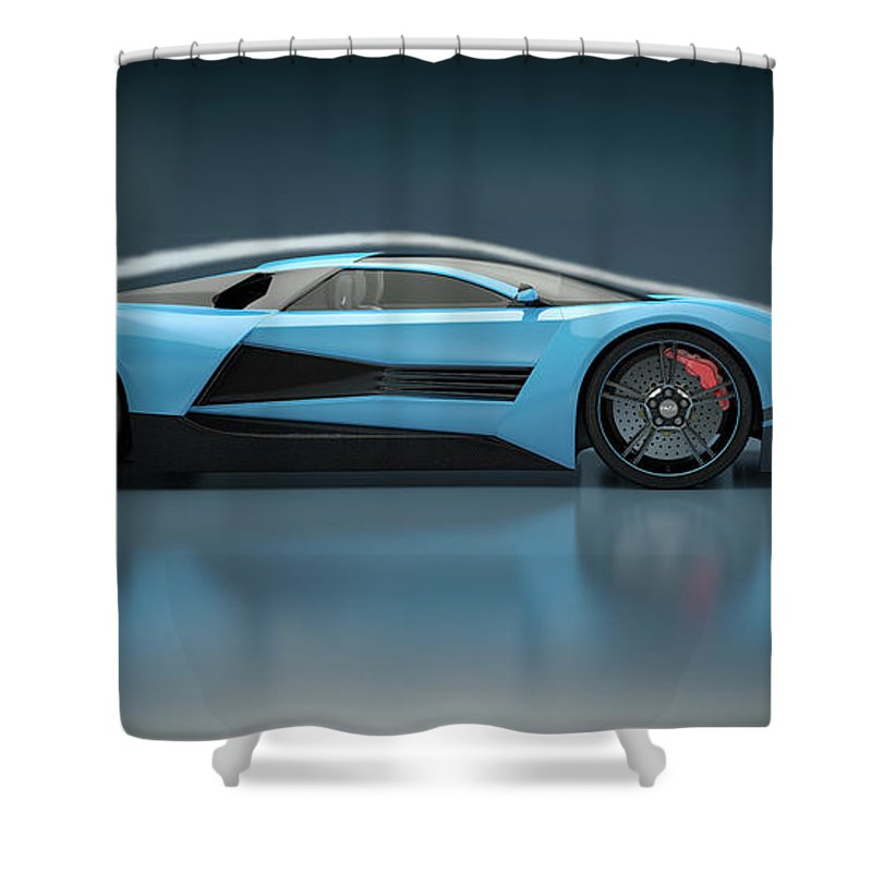 Aerodynamic Shower Curtain featuring the photograph Blue Sports Car In A Wind Tunnel by Mevans