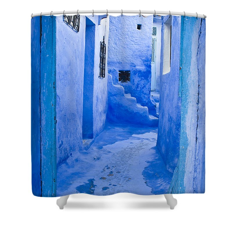 Blue Shower Curtain featuring the photograph Blue Street by Lana Enderle