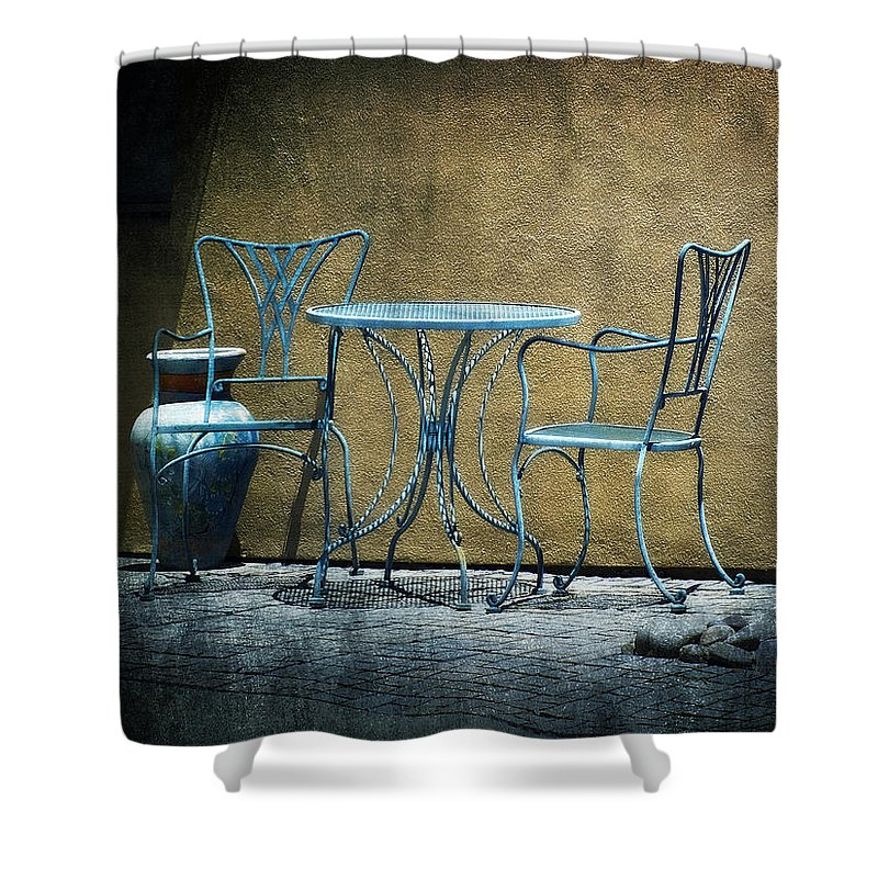 Lucinda Walter Shower Curtain featuring the photograph Blue Table And Chairs by Lucinda Walter