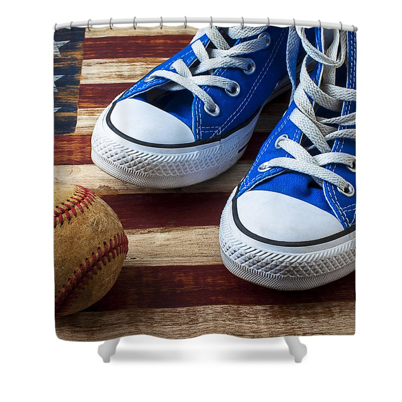 Blue Shower Curtain Featuring The Photograph Tennis Shoes And Baseball By Garry Gay