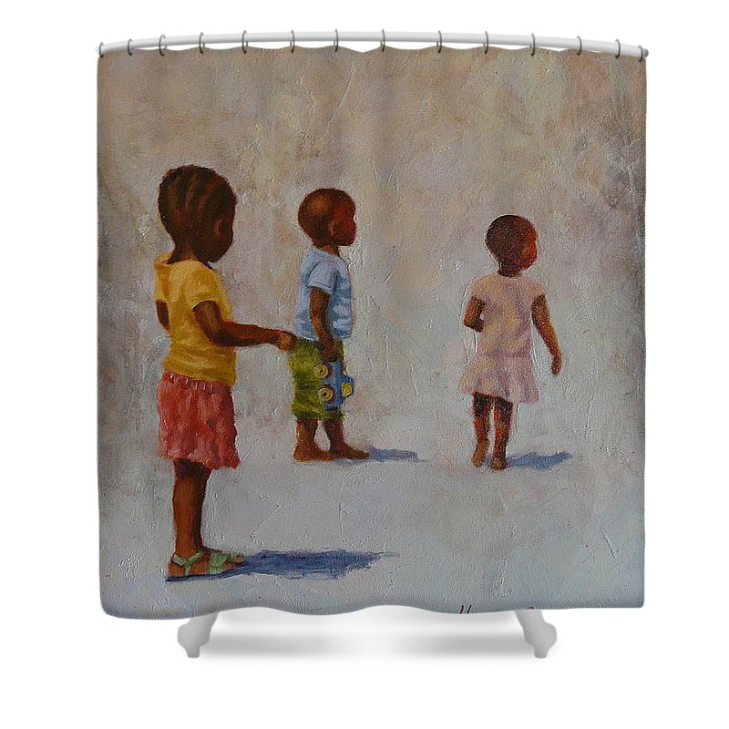 Children Shower Curtain featuring the painting Blue Truck by Yvonne Ankerman