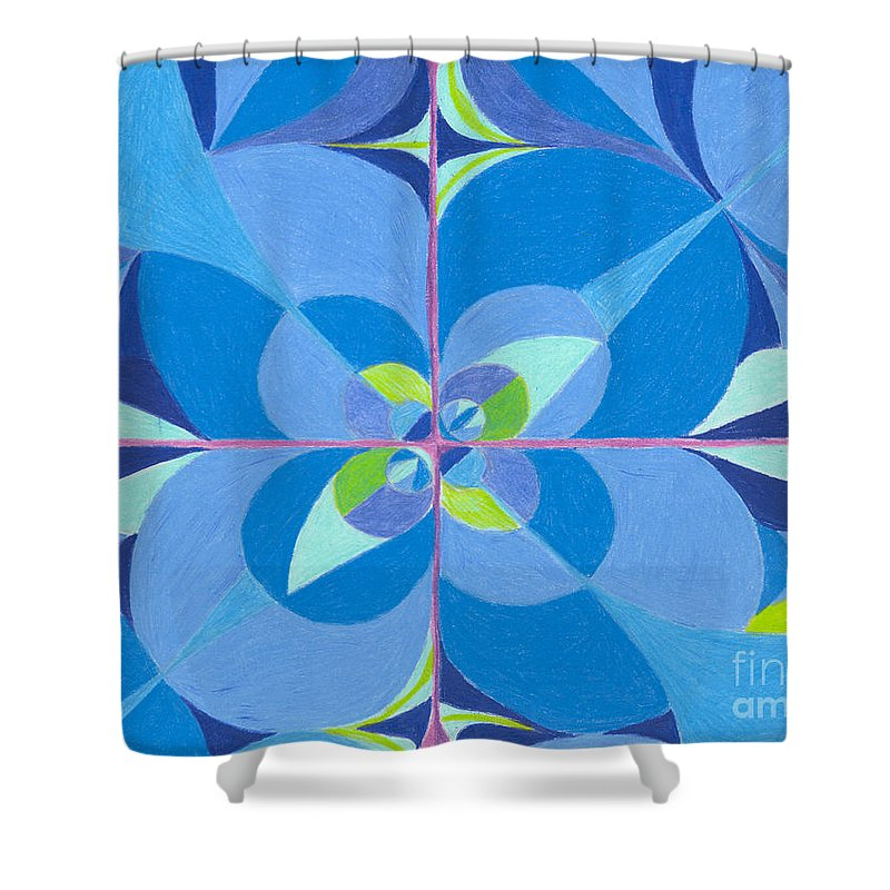 Color Shower Curtain featuring the drawing Blue Unity by Kim Sy Ok