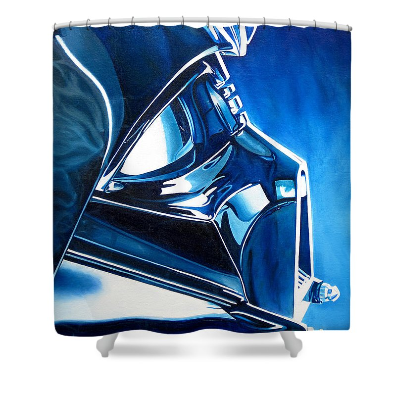 Star Wars Shower Curtain featuring the painting Blue Vader by Joshua Morton