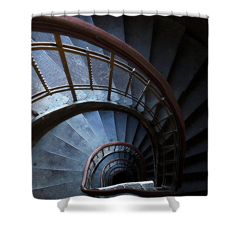 Blue Shower Curtain featuring the photograph Blue Vintage Staircase by Jaroslaw Blaminsky