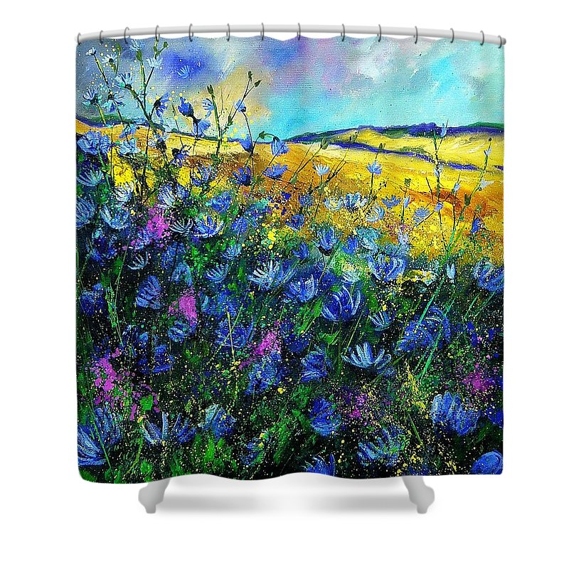 Flowers Shower Curtain featuring the painting Blue Wild Chicorees by Pol Ledent