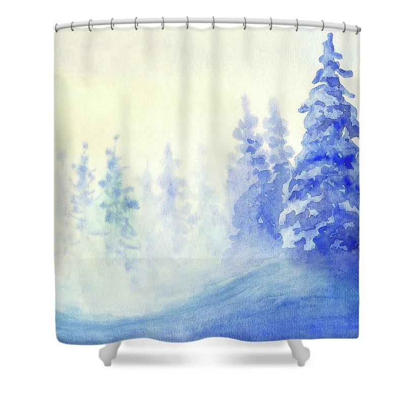 Art Shower Curtain featuring the digital art Blue Winter by Pobytov