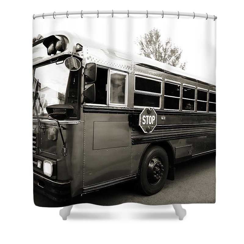Bluebird Shower Curtain featuring the photograph Bluebird Bus Limo 2 by Marilyn Hunt