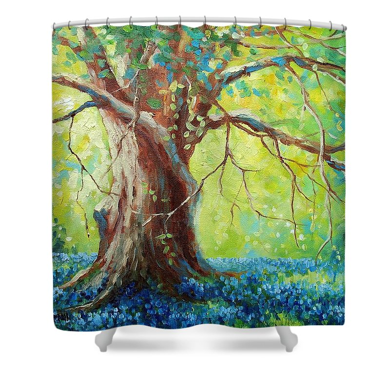 Bluebonnets Shower Curtain featuring the painting Bluebonnets Under The Oak by David G Paul