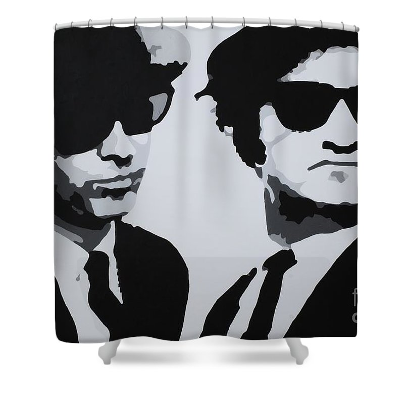 Blues Brothers Shower Curtain featuring the painting Blues Brothers by Katharina Filus